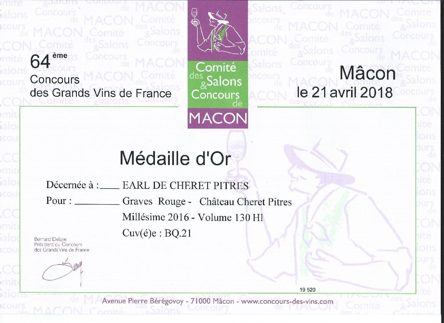 Médailles d'Or au concours de Mâcon